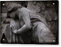 Angel In Mourning At Grave - Surreal Beautiful Angel Weeping Cemetery Art Acrylic Print by Kathy Fornal