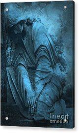 Surreal Cemetery Grave Mourner In Blue Sorrow  Acrylic Print by Kathy Fornal