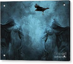 Surreal Gothic Cemetery Mourners And Raven Acrylic Print by Kathy Fornal