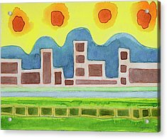 Surreal Simplified Cityscape  Acrylic Print by Heidi Capitaine