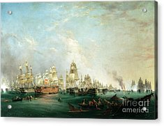 Surrender Of The Santissima Trinidad To Neptune The Battle Of Trafalgar Acrylic Print by Lieutenant Robert Strickland Thomas