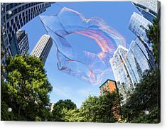 Suspended Colorful Fibers Over Boston Acrylic Print by Susan Candelario