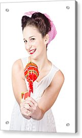 Sweet Lolly Shop Lady Offering Over Red Lollipop Acrylic Print by Jorgo Photography - Wall Art Gallery