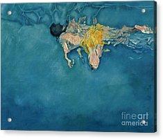 Swimmer In Yellow Acrylic Print by Gareth Lloyd Ball
