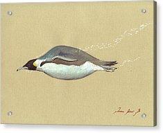 Swimming Penguin Painting Acrylic Print by Juan  Bosco