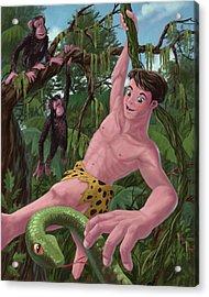 Swinging Boy Tarzan Acrylic Print by Martin Davey