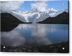 Swiss Alps And Clouds Casting Acrylic Print by Anne Keiser