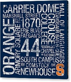Syracuse College Colors Subway Art Acrylic Print by Replay Photos