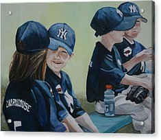 T Ball Friends Acrylic Print by Charlotte Yealey