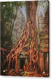 Ta Prohm Cambodia Acrylic Print by Tom Shropshire