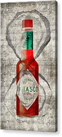 Tabasco Hot Sauce And Oysters Acrylic Print by Edward Fielding