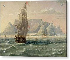 Table Mountain, Cape Town, From The Sea Acrylic Print by English School
