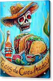 Tacos De Carne Asada Acrylic Print by Heather Calderon