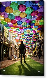 Take A Walk Under The Umbrella Sky Acrylic Print by Marco Oliveira