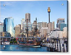 Tall Ships - Sydney Harbor Acrylic Print by Charles Warren