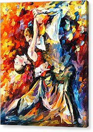 Tango In Paris - Palette Knife Oil Painting On Canvas By Leonid Afremov Acrylic Print by Leonid Afremov