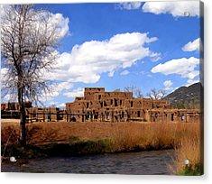 Taos Pueblo Early Spring Acrylic Print by Kurt Van Wagner