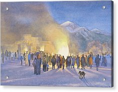 Taos Pueblo On Christmas Eve Acrylic Print by Jane Grover