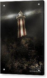 Tasmania Lighthouse In Rain Storm. Guiding Light Acrylic Print by Jorgo Photography - Wall Art Gallery