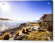 Tasmanian Boat Shed By The Ocean Acrylic Print by Jorgo Photography - Wall Art Gallery