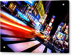 Taxis In Times Square Acrylic Print by Az Jackson