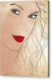 Taylor Red Lips Acrylic Print by Pablo Franchi