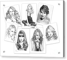 Taylor Swift Collage Acrylic Print by Murphy Elliott