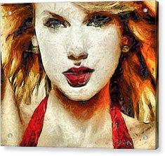 Taylor Swift - On The Go Acrylic Print by Sir Josef Social Critic - ART