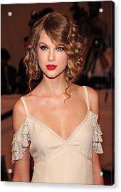Taylor Swift Wearing A Dress By Ralph Acrylic Print by Everett