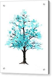 Teal Cherry Blossom Tree Watercolor Art Print Acrylic Print by Joanna Szmerdt