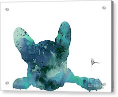 Teal Frenchie Minimalist Painting Acrylic Print by Joanna Szmerdt