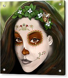 Teary Eyed Day Of The Dead Sugar Skull  Acrylic Print by Maggie Terlecki