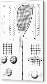 Tennis Racket And Balls Acrylic Print by French School