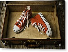 Tennis Shoes In Suitcase Acrylic Print by Garry Gay