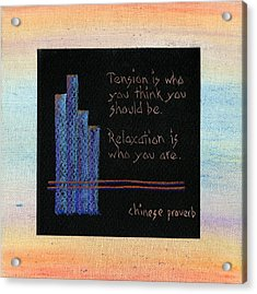 Tension Is...in Orange And Blue Acrylic Print by Audi Swope