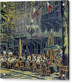 Terrace At The Vrijthof In Maastricht Acrylic Print by Nop Briex