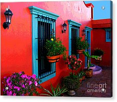 Terrace Windows At Casa De Leyendas By Darian Day Acrylic Print by Mexicolors Art Photography