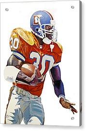 Terrell Davis - Denver Broncos  Acrylic Print by Michael Pattison