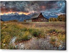 Teton Nightfire At The Ta Moulton Barn Acrylic Print by Ryan Smith