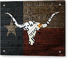 Texas Longhorn Recycled Vintage License Plate Art On Lone Star State Flag Wood Background Acrylic Print by Design Turnpike