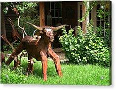 Texas Longhorn Sculpture Acrylic Print by Linda Phelps