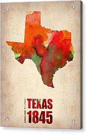 Texas Watercolor Map Acrylic Print by Naxart Studio