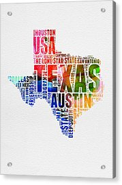 Texas Watercolor Word Cloud  Acrylic Print by Naxart Studio