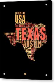 Texas Word Cloud 1 Acrylic Print by Naxart Studio