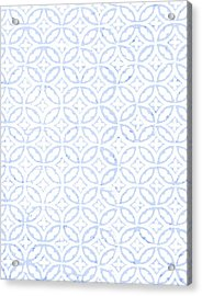 Textured Blue Diamond And Oval Pattern Acrylic Print by Gillham Studios