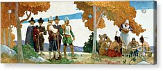 Thanksgiving With Indians Acrylic Print by Newell Convers Wyeth