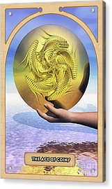 The Ace Of Coins Acrylic Print by John Edwards