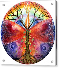 The Ace Of Wands Mandala Acrylic Print by Kate Bedell