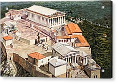 The Acropolis And Parthenon Acrylic Print by Roger Payne