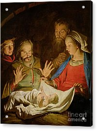 The Adoration Of The Shepherds Acrylic Print by Matthias Stomer